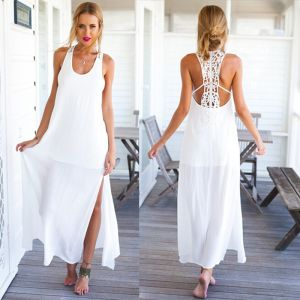 Sexy White Chiffon Summer Beach Maxi Dresses 2018 Sheath / Fit Shoulders Sleeveless Ankle Length Split Front Women's Clothing