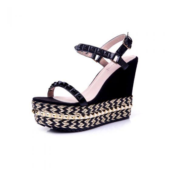 Chic / Beautiful Black Womens Sandals 2017 Outdoor / Garden PU Rivet High Heels Wedges Open / Peep Toe Sandals