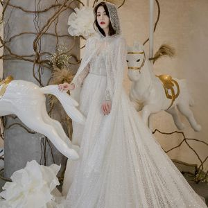 Sparkly Ivory Wedding Dresses With Cloak 2018 A-Line / Princess V-Neck Long Sleeve Backless Glitter Chapel Train Ruffle