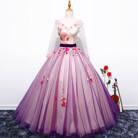 Wróżka Kwiatowa Fioletowe Suknia Balowa Sukienki Na Bal 2017 V-Szyja Tiulowe Aplikacje Bez Pleców Frezowanie Bal Sukienki Wizytowe