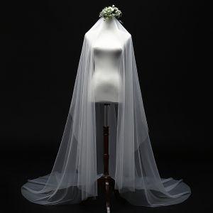 Schlicht Ivory / Creme 3 m Brautschleier Elegante Klassisch Tülle Kapelle-Schleppe Hochzeit Brautaccessoires 2019