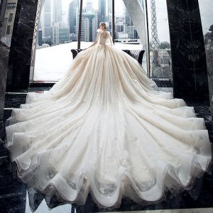 Luxury / Gorgeous Champagne Bridal Wedding Dresses 2020 Ball Gown See-through V-Neck Sleeveless Backless Appliques Lace Sequins Beading Glitter Tulle Royal Train Ruffle