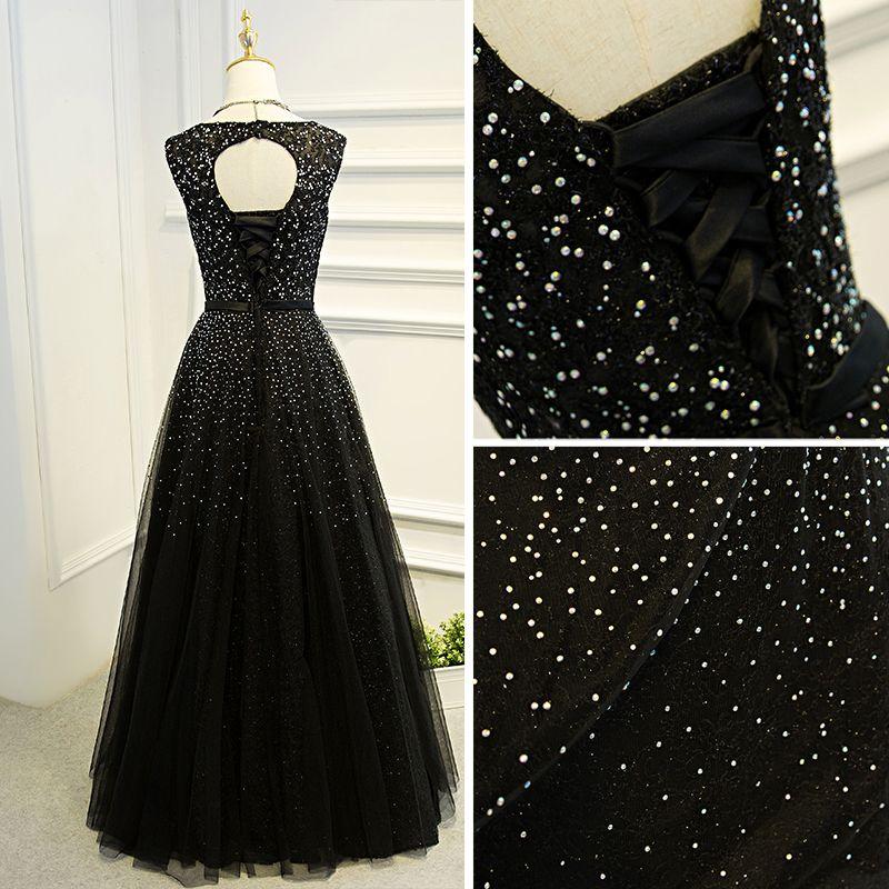 Amazing / Unique Black Formal Dresses 2017 A-Line / Princess Lace Flower Bow Sequins Backless Scoop Neck Short Sleeve Floor-Length / Long Evening Dresses