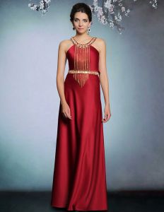 2015 Elegant Beauding Applique Langes Abendkleid