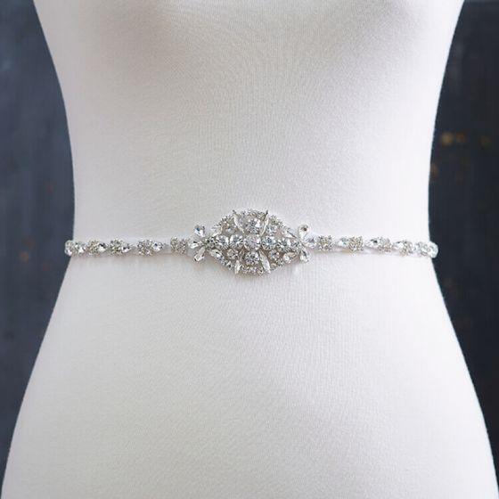 Fine Elfenben Bryllup Bånd 2020 Satin Metall Beading Krystall Rhinestone Ball Aften Tilbehør