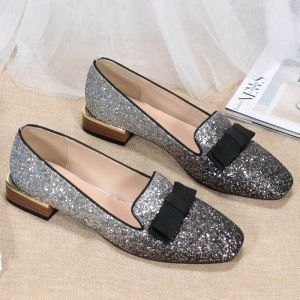 Fashion Silver Black Street Wear Sequins Pumps 2020 Bow 3 cm Thick Heels Low Heel Pointed Toe Pumps