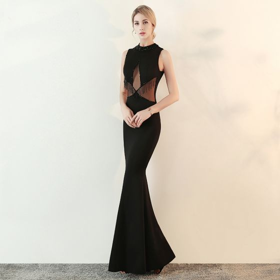 Sexy Schwarz Abendkleider 2018 Mermaid Durchsichtige Perlenstickerei Rundhalsausschnitt Ärmellos Lange Festliche Kleider