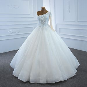 Luxury / Gorgeous White Bridal Wedding Dresses 2020 Ball Gown One-Shoulder Long Sleeve Backless Handmade  Beading Pearl Floor-Length / Long Ruffle