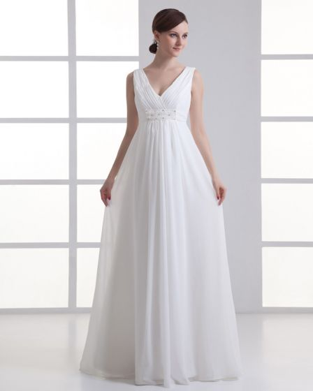 Chiffon Ruffle Beading V Neck Floor Length Empire Wedding Dress