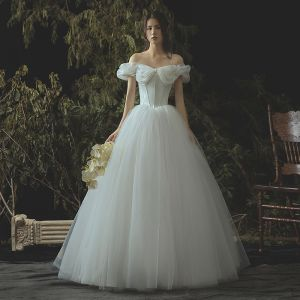 Elegant Ivory Corset Wedding Dresses 2019 A-Line / Princess Off-The-Shoulder Short Sleeve Backless Floor-Length / Long