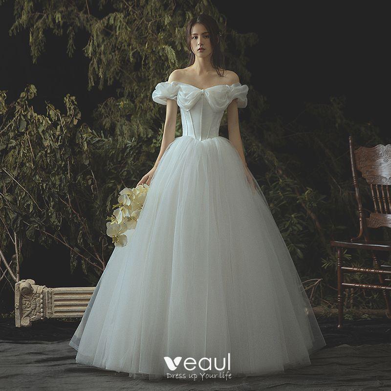 Elegant Ivory Corset Wedding Dresses 2019 A-Line