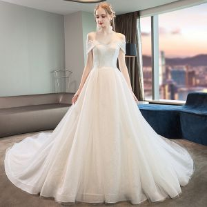Charming Ivory Wedding Dresses 2019 A-Line / Princess Glitter Lace Tulle Off-The-Shoulder Short Sleeve Backless Cathedral Train