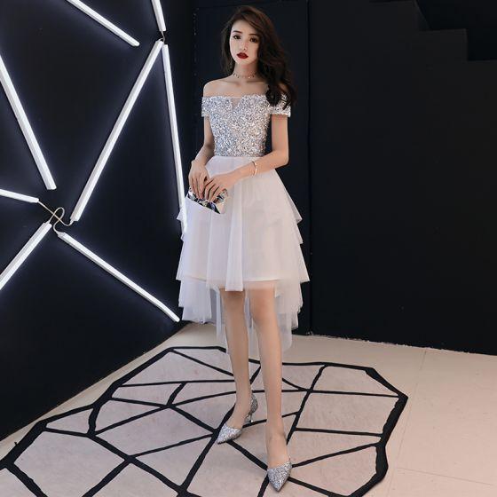 Schöne Ivory / Creme Cocktailkleider 2018 A Linie Off Shoulder Kurze Ärmel Pailletten Asymmetrisch Rüschen Rückenfreies Festliche Kleider