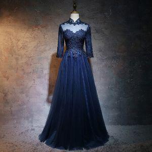 Chinesischer Stil Marineblau Ballkleider 2017 A Linie Stehkragen 3/4 Ärmel Applikationen Mit Spitze Perle Lange Rüschen Durchbohrt Festliche Kleider