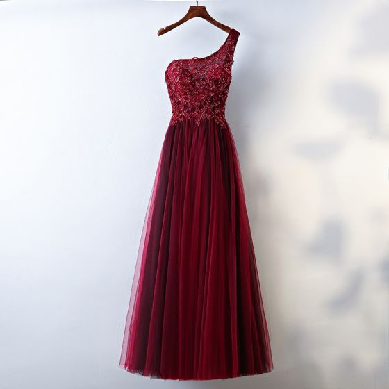 Chic / Beautiful Red Evening Dresses  2017 A-Line / Princess Lace Flower Beading Sequins One-Shoulder Backless Sleeveless Ankle Length Evening Party