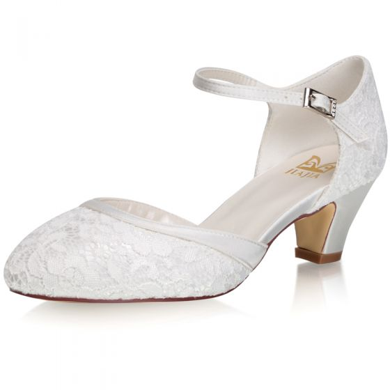 Modest / Simple Ivory Lace Satin Wedding Shoes 2021 5 cm Thick Heels Round Toe Wedding High Heels