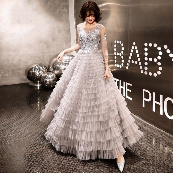 Chic / Beautiful Grey Evening Dresses  2020 A-Line / Princess See-through Scoop Neck 3/4 Sleeve Appliques Lace Beading Floor-Length / Long Cascading Ruffles Formal Dresses