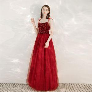 Charming Burgundy Evening Dresses  2020 A-Line / Princess Spaghetti Straps Sequins Sleeveless Backless Floor-Length / Long Formal Dresses