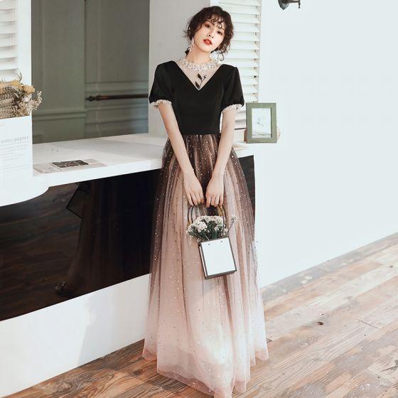 Fashion Black Evening Dresses  2020 A-Line / Princess Scoop Neck Beading Star Sequins Short Sleeve Backless Floor-Length / Long Formal Dresses