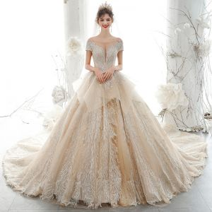 Luxury / Gorgeous High-end Champagne Wedding Dresses 2020 Ball Gown Beading Pearl Rhinestone Lace Flower Scoop Neck Short Sleeve Backless Royal Train