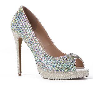 Charmant Multi-Couleurs Faux Diamant Soirée Sandales Femme 2020 Cuir Perle 12 cm Talons Aiguilles Peep Toes / Bout Ouvert Sandales