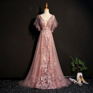 Elegant Pearl Pink Evening Dresses  2019 A-Line / Princess Lace Beading Crystal V-Neck Short Sleeve Backless Sweep Train Formal Dresses