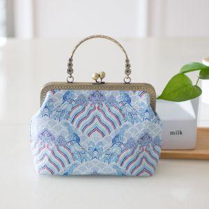 Chinesischer Stil Himmelblau Stickerei Clutch Tasche 2020