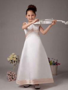 Witte Mouwloze Omgekeerde V Satijnen Meisjes Jurken Bloemenmeisjes Jurken