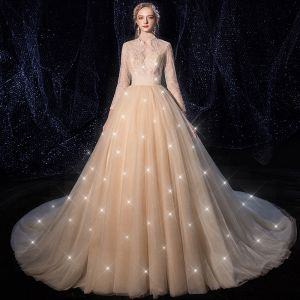 Charming Champagne Wedding Dresses 2020 A-Line / Princess Deep V-Neck 3/4 Sleeve Backless Glitter Tulle Beading Pearl Chapel Train Ruffle