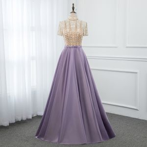 Vintage / Retro Lavender Satin See-through Evening Dresses  2019 A-Line / Princess High Neck Short Sleeve Beading Floor-Length / Long Ruffle Formal Dresses