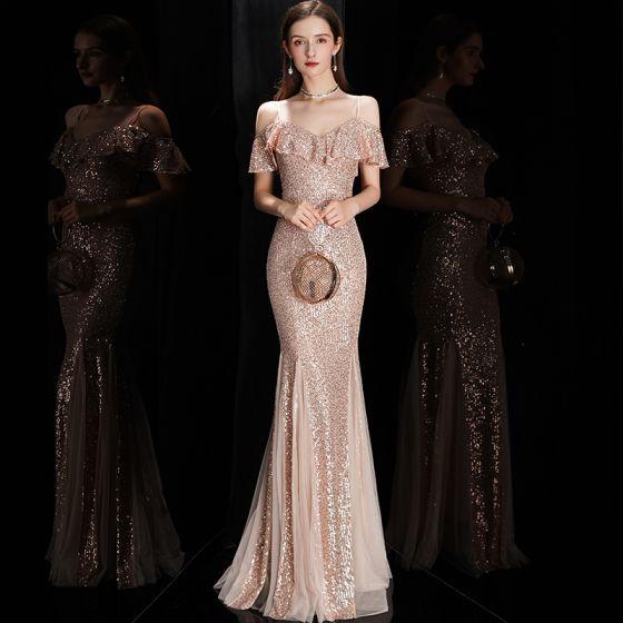 Glitzernden Rose Gold Pailletten Abendkleider 2020 Meerjungfrau Spaghettiträger Kurze Ärmel Lange Rüschen Rückenfreies Festliche Kleider