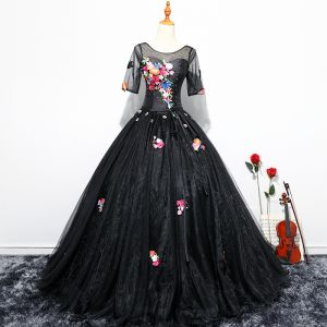 Chic / Beautiful Black Flower Fairy Prom Dresses 2017 Ball Gown Embroidered Appliques Pearl Sash Scoop Neck Backless 1/2 Sleeves Floor-Length / Long Formal Dresses