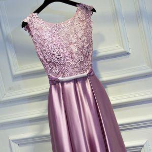 Charmant Rose Bonbon Robe De Ceremonie 2017 Empire En Dentelle Fleur Dos Nu Noeud Faux Diamant Encolure Dégagée Sans Manches Longueur Cheville Robe De Soirée