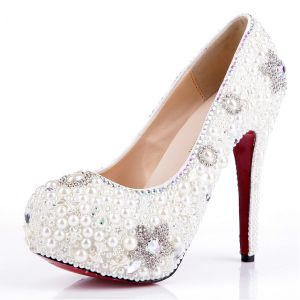 White Pearl Crystal Rhinestone Female Stilettos / Pumps Wedding Shoes