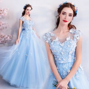 Chic / Beautiful Sky Blue Evening Dresses  2018 A-Line / Princess U-Neck Cap Sleeves Butterfly Appliques Lace Beading Bow Sash Floor-Length / Long Ruffle Backless Formal Dresses