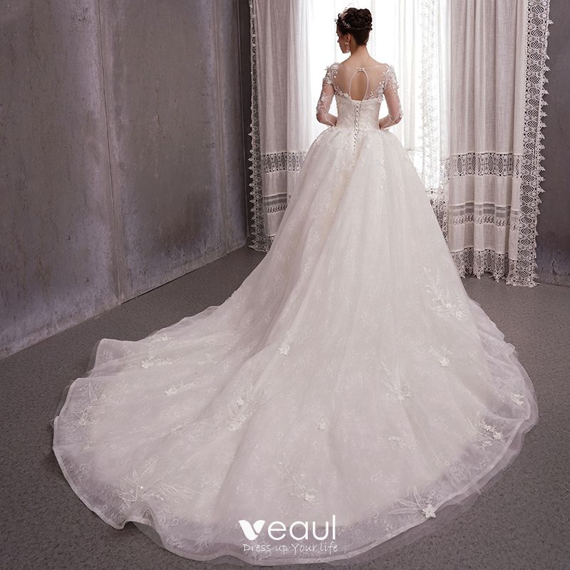 See Through Wedding Gown: Romantic Ivory See-through Wedding Dresses 2020 Ball Gown