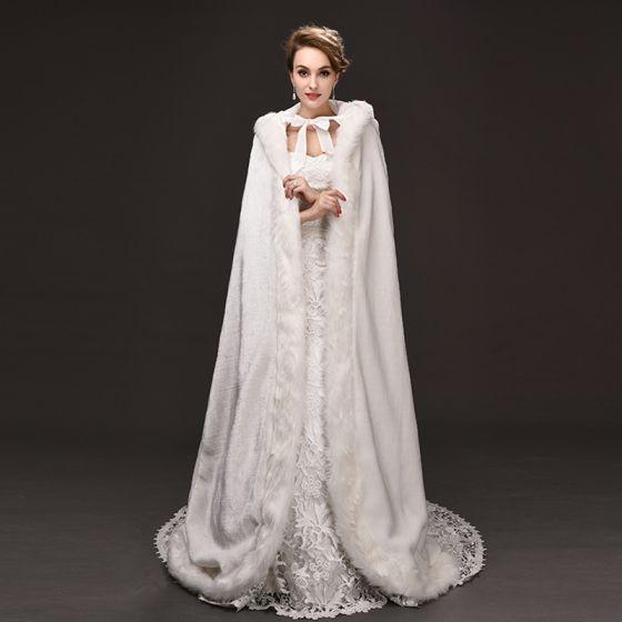 Luksusowe Białe płaszcz Wiązane Poliester Ślub Wieczorowe Akcesoria 2019