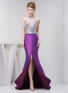 Bling Sheath Halter Sequined Split Front Prom Dress