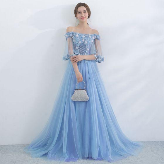 Chic / Belle Bleu Ciel Robe De Soirée 2017 Princesse De l'épaule 1/2 Manches Perlage Appliques Fleur Train De Balayage Dos Nu Robe De Ceremonie