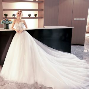 Charming Ivory Wedding Dresses 2018 Ball Gown Appliques Beading Pearl Sequins Buttons Sweetheart Backless Sleeveless Royal Train Wedding