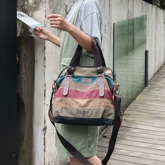 Vintage Multifarben Schultertaschen Umhängetasche Handtasche 2021 Segeltuch Freizeit Damentaschen