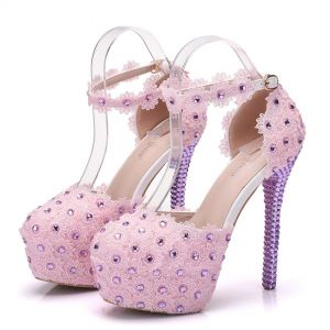 Lovely Candy Pink Wedding Shoes 2018 Lace Flower Rhinestone Ankle Strap 11 cm Stiletto Heels Round Toe Wedding Pumps