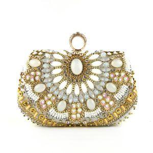 Chic / Belle Argenté Pochette 2020 Métal Perlage Faux Diamant