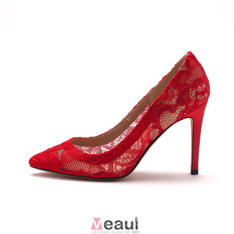 Red Lace Elegant Bridal Shoes / Wedding Shoes / Woman