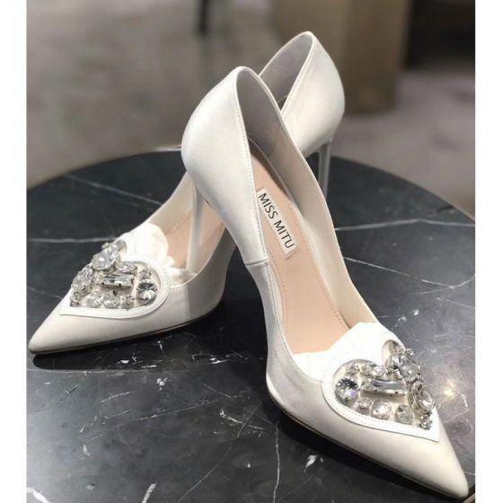 Mooie / Prachtige Witte Rhinestone Bruidsschoenen 2020 Leer 8 cm Naaldhakken / Stiletto Spitse Neus Huwelijk Pumps