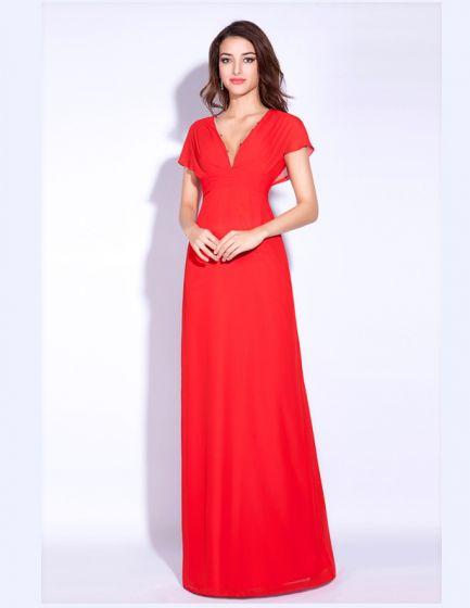 Lockande Perfekt Kort Ärm V-ringad Röd Chiffong Aftonklänningar