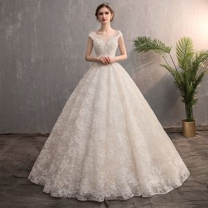 Best Champagne Wedding Dresses 2019 A-Line / Princess See-through V-Neck Sleeveless Backless Appliques Lace Beading Pearl Sweep Train Ruffle
