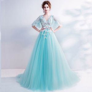 Chic / Beautiful Sky Blue Prom Dresses 2017 A-Line / Princess V-Neck Tulle Appliques Backless Beading Prom Formal Dresses
