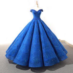 Haut de Gamme Bleu Roi Dansant Robe De Bal 2020 Robe Boule De l'épaule Manches Courtes Appliques En Dentelle Perlage Glitter Tulle Longue Volants Dos Nu Robe De Ceremonie