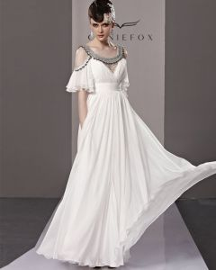 Round Neck Off Shoulder Layered Short Sleeve Zipper Floor Length Empire Tencel Woman Evening Dress